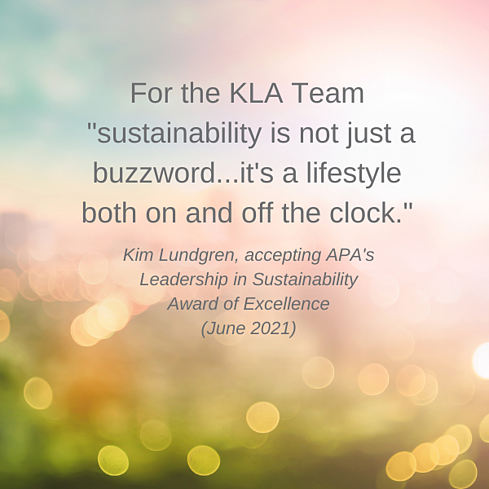 Quote from Kim during APA award acceptance