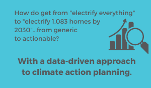 How do get from electrify everything to electrify 1,083 homes by 2030. From a concept to action With a data-driven approach to climate action planning.