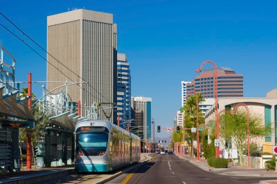 Midtown Phoenix business district and light rail train