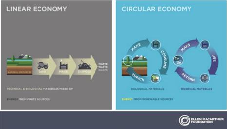 Linear Economy vs. Circular Economy infographic